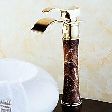 Buluke Im europäischen Stil Kupfer natürliche Jade einzelne Single loch Waschbecken mit Wasserhahn