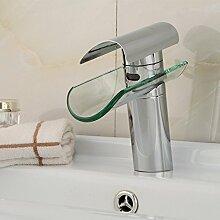 Buluke Modernes Bad Kupfer Einloch Glas Steckdose Wasserfall Waschbecken Wasserhahn