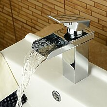 Buluke Modernes Waschbecken Wasserhahn einzigen Griff Wasserfall Waschbecken Wasserhahn 58 * 8 cm