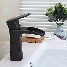 Buluke Öl eingerieben Bronze Waschbecken Wasserhahn zeitgenössisches Design Wasserfall