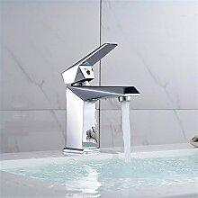 Buluke Zeitgenössische Badezimmer chromfarbenen Quadrat heißen und kalten Wasser Waschbecken Wasserhahn