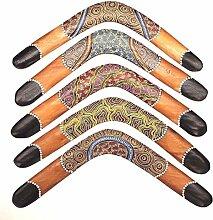 Bumerang 45 cm aus Teak Holz Dotpaint Boomerang