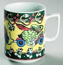 BUNNY (Grundfarbe gelb) HASE Häschen auf Motorrad BOPLA! Maxitasse 0,3l Serie Evolution Kaffee- Tee- Glühwein- Becher, Maxi Tasse, Mug, Maxi Taza, Maxi Cup, Maxit Taza 0,3 l, 10-1/2 fl. oz. Einzelgewicht: 302g - Geeignet für alle heißen und kalten Getränke. Ihre Geschenk-Idee zum Sammeln. Platzsparend stapelbar. In verschiedenen Dekoren und Farbvariationen zur Auswahl BOPLA Porzellan kann bunt gemischt werden und es passt immer zusammen. So sieht Ihr Tisch jeden Tag anders, jeden Tag frisch aus. Ein Schweizer Qualitätsprodukt an dem Sie lange Jahre Freude haben werden