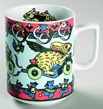 BUNNY (Grundfarbe hellblau) HASE Häschen auf Motorrad BOPLA! Maxitasse 0,3l Serie Evolution Kaffee- Tee- Glühwein- Becher, Maxi Tasse, Mug, Maxi Taza, Maxi Cup, Maxit Taza 0,3 l, 10-1/2 fl. oz. Einzelgewicht: 302g - Geeignet für alle heißen und kalten Getränke. Ihre Geschenk-Idee zum Sammeln. Platzsparend stapelbar. In verschiedenen Dekoren und Farbvariationen zur Auswahl BOPLA Porzellan kann bunt gemischt werden und es passt immer zusammen. So sieht Ihr Tisch jeden Tag anders, jeden Tag frisch aus. Ein Schweizer Qualitätsprodukt an dem Sie lange Jahre Freude haben werden