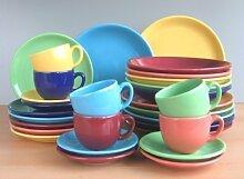 Bunt 6 Farben Dekor Kombi Service 30 teilig Neu