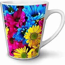 Bunt Blume Natur Weiß Keramisch Latte Becher 12