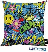 BUNT GRAFFITI ABSTRAKT DESIGN KISSEN Perfekt Geschenk Kinder Geburtstagsgeschenk Idee