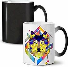 Bunt Wolf Gestalten Schwarz Farbwechsel Tee Kaffee Keramisch Becher 11 oz   Wellcoda