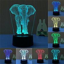 Bunte 3D Visual Led Nachtlichter für Kinder Touch USB Tisch Lampara Lampe Baby Nachtschlaf Nightlight (Elefant)
