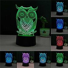 Bunte 3D Visual Led Nachtlichter für Kinder Touch USB Tisch Lampara Lampe Baby Nachtschlaf Nightlight (OWL-2)