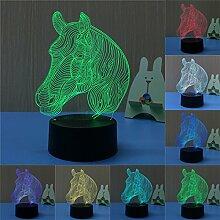 Bunte 3D Visual Led Nachtlichter für Kinder Touch USB Tisch Lampara Lampe Baby Nachtschlaf Nightlight (Pferdekopf-2)