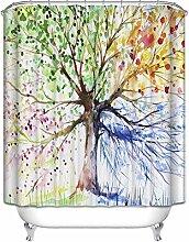 Bunte Baum Badezimmer Duschvorhang Anti-Schimmel Polyester Duschvorhänge wasserdicht antibakteriell mit 12 Haken (180 x 180cm)