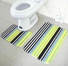 Bunte Design Badematte Set 2 Stück WC Teppich Bad Kontur Matte , G