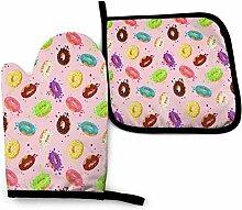 Bunte Donuts Basketball Küchenofen Handschuhe und