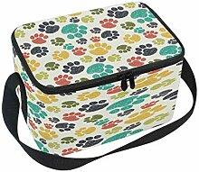 Bunte Doodle Paw-Prints Lunchbox-Tasche,