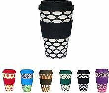 Bunte ECO Coffee Cups von Kaufdichgrün I Thermo Trinkbecher mit Deckel aus Silikon und Silikonmanschette I Coffee to go Becher ökologisch I Kaffeebecher aus Bambus Basketcase 400 ml