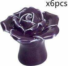 Bunte Einloch Keramik Rose Knöpfe Europäischer Moderner Handgriff für Schublade Schrank Dresser und mehr Möbelgriffe Möbelknauf Satz von 6 von Creatwls - Lila