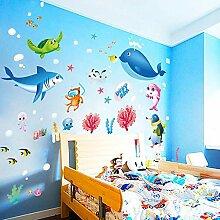 Bunte fish shark ozean wandaufkleber vinyl