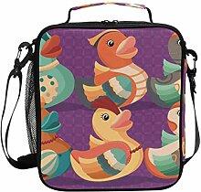 Bunte Gummi-Ente, isolierte Lunchbox für Kinder,