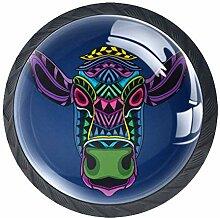 Bunte Kuh-Möbelknöpfe aus ABS-Glas, rund, für