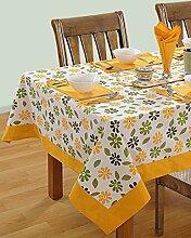 Bunte Multicolor Baumwolle Frühling Blumen Tischdecken für Ess Zimmer 152 x 259 Cm, gelber Rahmen