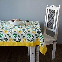 Bunte Multicolor Baumwolle Frühling Blumen Tischdecken für Ess Zimmer 152 x 213 Cm, gelber Rahmen