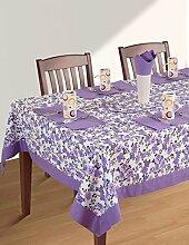 Bunte Multicolor Baumwolle Frühling Blumen Tischdecken für Ess Zimmer 152 x 152 Cm, lila Rand
