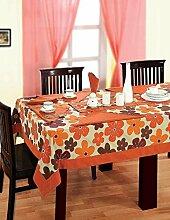 Bunte Multicolor Baumwolle Frühling Blumen Tischdecken für Esszimmer Tische 137 Cm x 137 Cm, Rost-Grenze