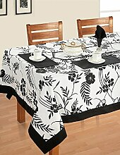 Bunte Multicolor Baumwolle Frühling Blumen Tischdecken für Esszimmer Tische 152 x 152 Cm, schwarzer Rahmen