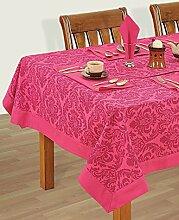 Bunte Multicolor Baumwolle Frühling Blumen Tischdecken Tische 152 x 152 Cm, Weinrotes Rosa Grenze