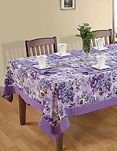 Bunte Multicolor Baumwolle Frühling Blumen Tischdecken Tische 152 x 152 Cm, lila Rand