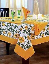 Bunte Multicolor Baumwolle Frühling Blumen Tischdecken Tische 152 x 152 Cm, gelber Rahmen