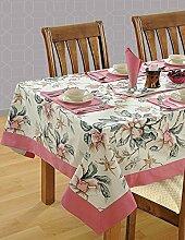 Bunte Multicolor Baumwolle Frühling Blumen Tischdecken Tische 152 x 213 Cm, Baby Rosa Grenze