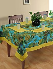Bunte Multicolor Baumwolle Frühling Blumen Tischdecken Tische 152 x 213 Cm, Gold metallisch Grenze