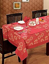 Bunte Multicolor Baumwolle Frühling Blumen Tischdecken Tische 152 x 152 Cm, rot umrande