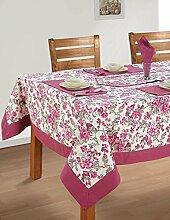 Bunte Multicolor Baumwolle Frühling Blumen Tischdecken Tische 152 x 228 Cm, tief Puce Grenze