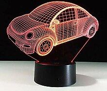 Bunte Nachtlicht-Stimmungslampe Des Käfer-Auto-3D