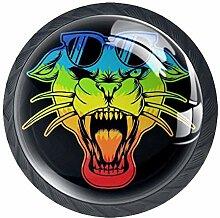 Bunte Panther-Brillenknöpfe aus ABS-Glas, rund,