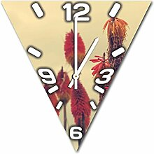 bunte Pflanze, Design Wanduhr aus Alu Dibond zum Aufhängen, 30 cm Durchmesser, schmale Zeiger, schöne und moderne Wand Dekoration, mit qualitativem Quartz Uhrwerk