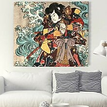 Bunte Samurai mit Große Welle Malerei