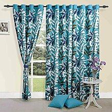 Bunte tropische Palm Cotton Fenster Gardinen-Vorhang 150x137 cm - Türkis mit Weiß, Grau, Olive und Lavendel Set 2 Panels