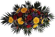 Buntes Grabgesteck mit roten Rosen von Flora Trans
