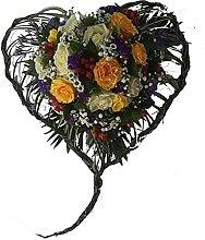 Buntes Trauerherz mit Rosen - Herzgesteck- von