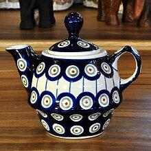 Bunzlau Keramik Teekanne mit Deckel 0,21 L Dekor 8