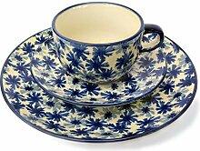 Bunzlauer Kaffee-Gedeck mit Tasse, Untertasse und