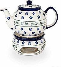 Bunzlauer Keramik Stövchen + Teekanne 1.0L, Dekor