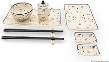 Bunzlauer Keramik Sushi-Set 8-teilig, Dekor 111