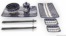 Bunzlauer Keramik Sushi-Set 8-teilig, Dekor 166a