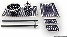 Bunzlauer Keramik Sushi-Set 8-teilig, Dekor 42