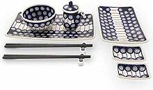 Bunzlauer Keramik Sushi-Set 8-teilig, Dekor 8